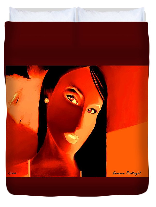 Fineartamerica.com Duvet Cover featuring the painting Amour Partage Love Shared 15 by Diane Strain