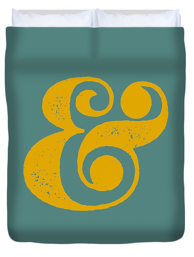 Ampersand Duvet Cover featuring the digital art Ampersand Poster Blue and Yellow by Naxart Studio