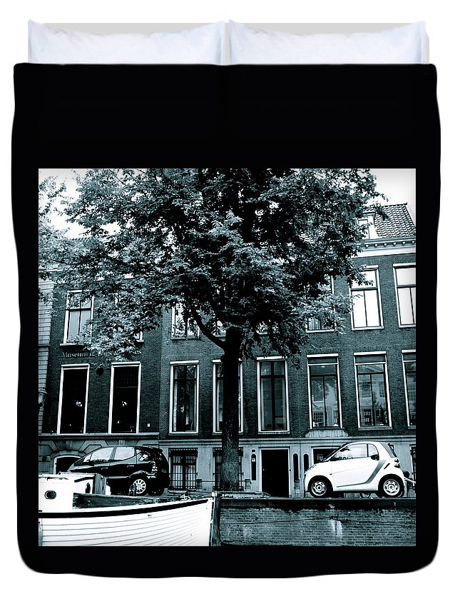 Amsterdam Duvet Cover featuring the photograph Amsterdam Electric Car by Cheryl Miller