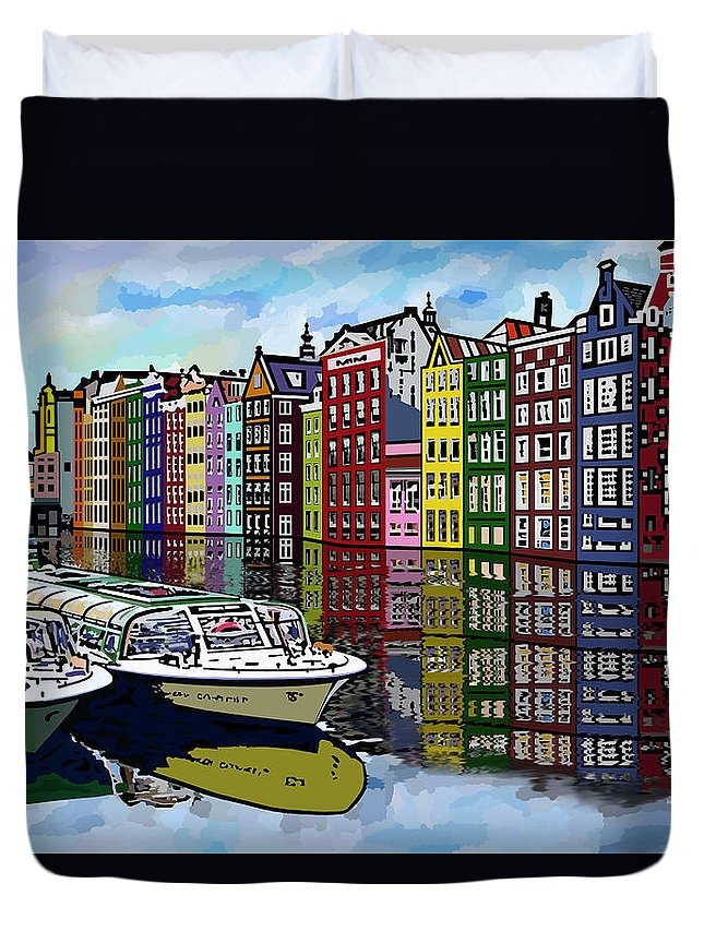 Amsterdam Duvet Cover featuring the digital art Amsterdam Holland by James Mingo