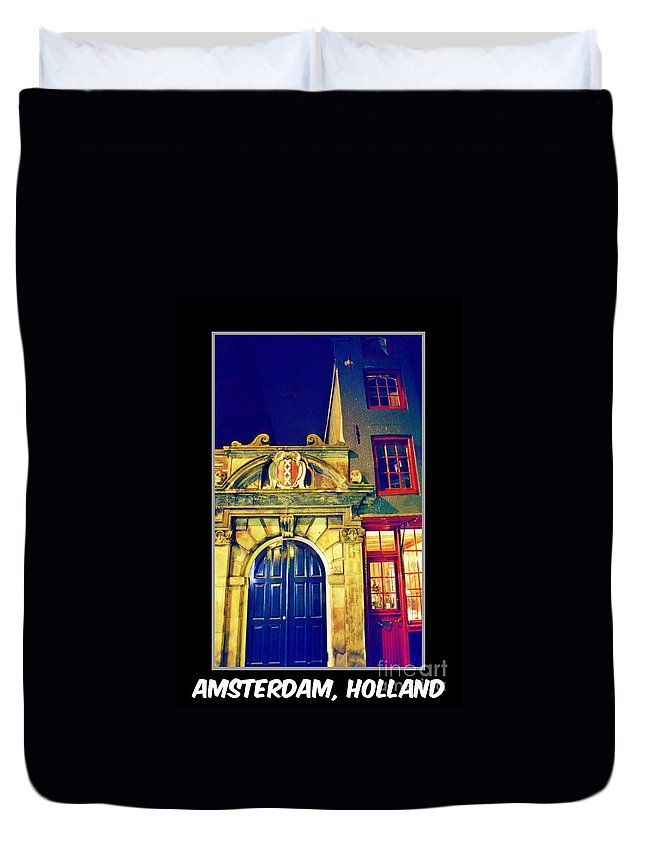 Amsterdam Postcard Duvet Cover featuring the photograph Amsterdam Postcard by John Malone