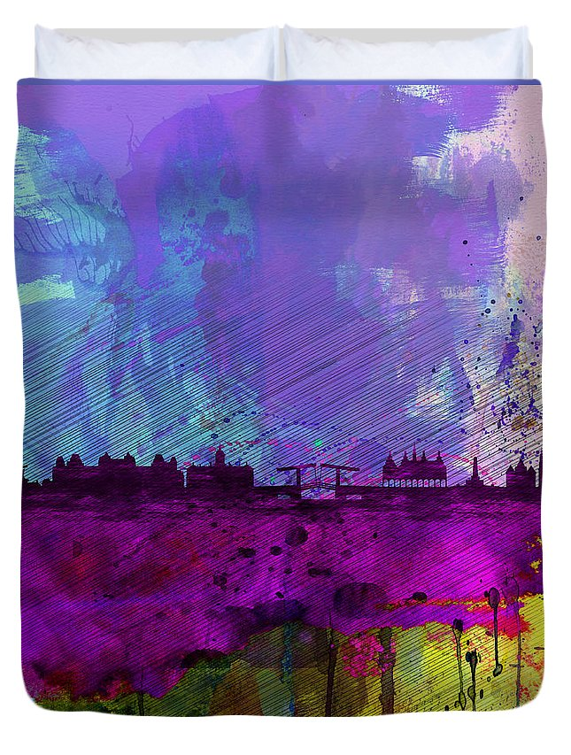 Amsterdam Duvet Cover featuring the painting Amsterdam Watercolor Skyline by Naxart Studio