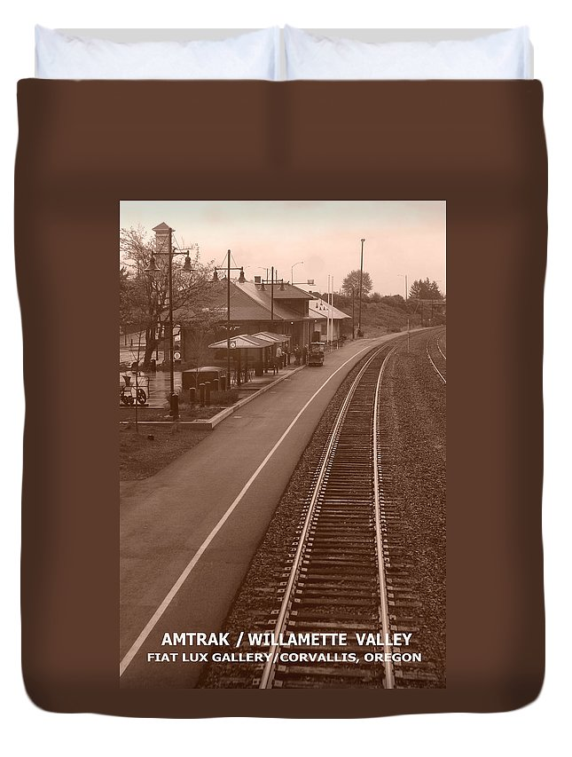 Amtrak Duvet Cover featuring the photograph Amtrak Departure by Michael Moore