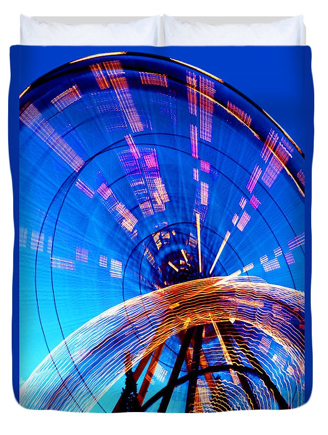 Amusement Park Duvet Cover featuring the photograph Amusement Park Rides 1 by Steve Ohlsen