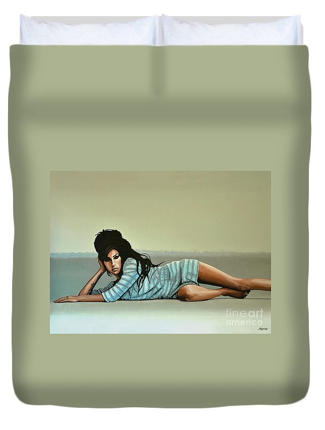 Amy Winehouse Duvet Cover featuring the painting Amy Winehouse 2 by Paul Meijering