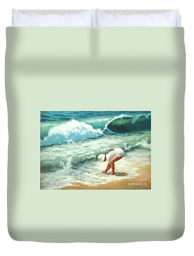 Ocean Paintings Duvet Cover featuring the painting Amy's Treasure by Madeleine Holzberg