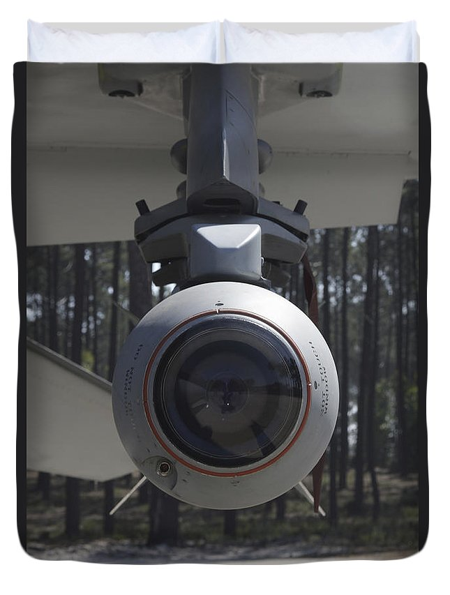 Aircraft Duvet Cover featuring the photograph An Agm-65 Maverick Missile Mounted by Timm Ziegenthaler