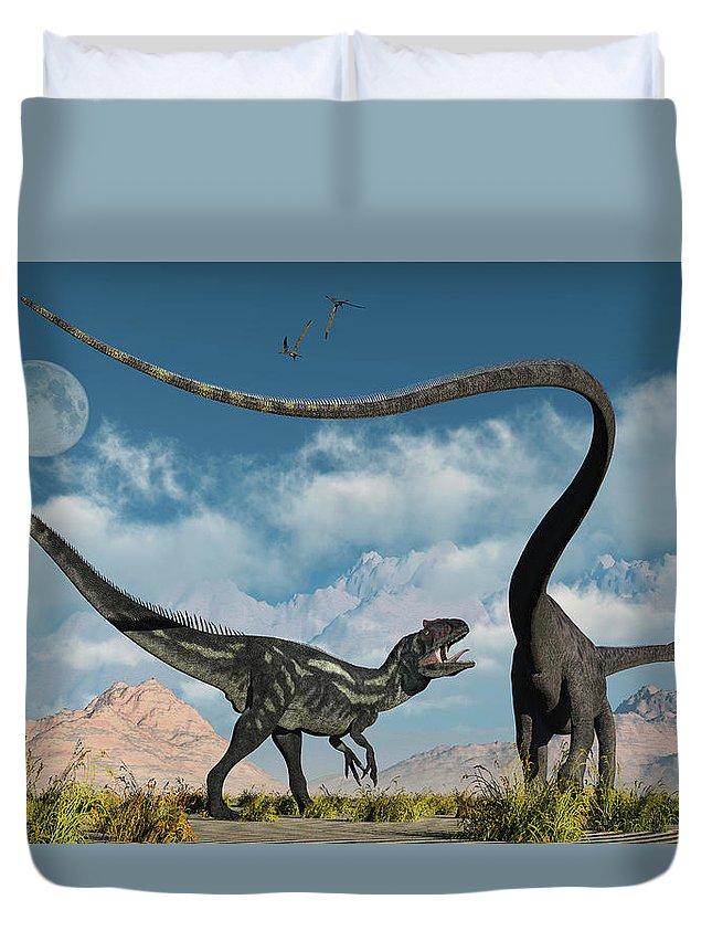 Horizontal Duvet Cover featuring the photograph An Allosaurus In A Deadly Battle by Mark Stevenson