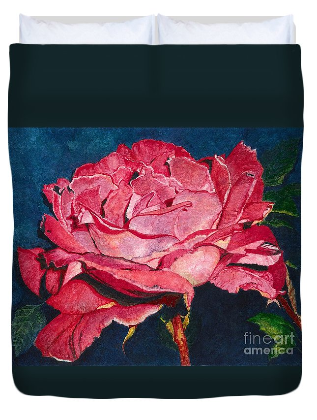 Flower Duvet Cover featuring the painting An American Beauty by Barbara Jewell