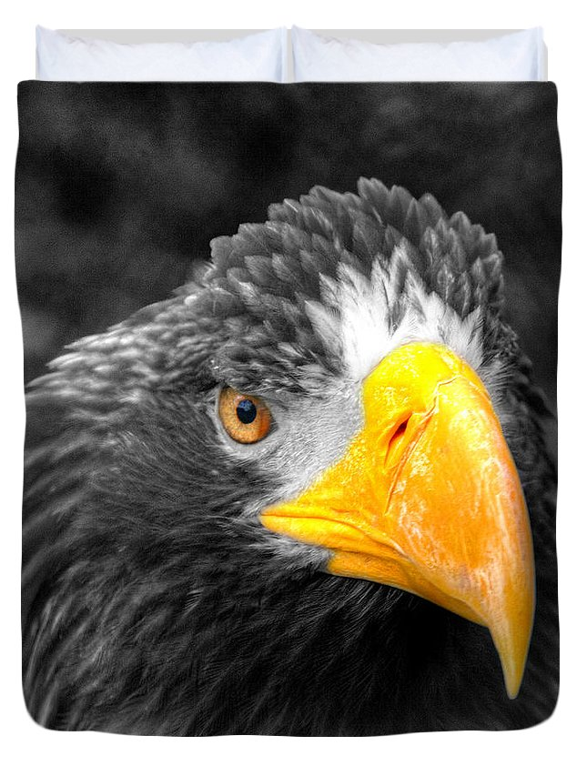 Golden Duvet Cover featuring the photograph An American Eagle by Rob Hawkins