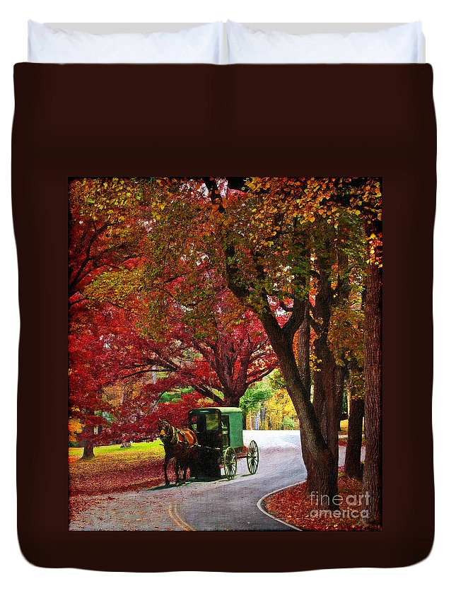 Amish Duvet Cover featuring the digital art An Amish Autumn Ride by Lianne Schneider