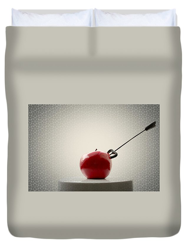 Autumn Duvet Cover featuring the photograph An Apple by Heike Hultsch