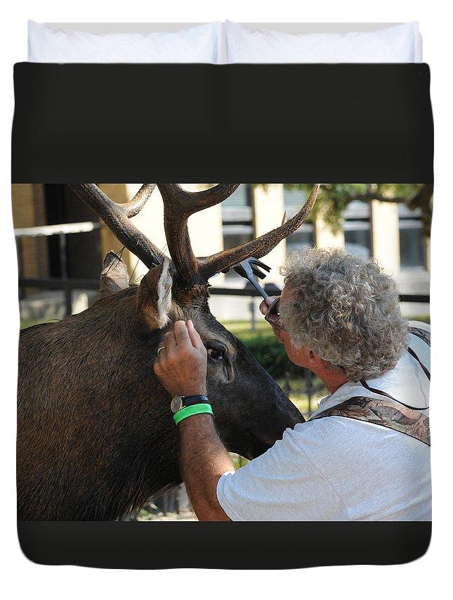 Deer Duvet Cover featuring the photograph An Artist by Leon Hollins III