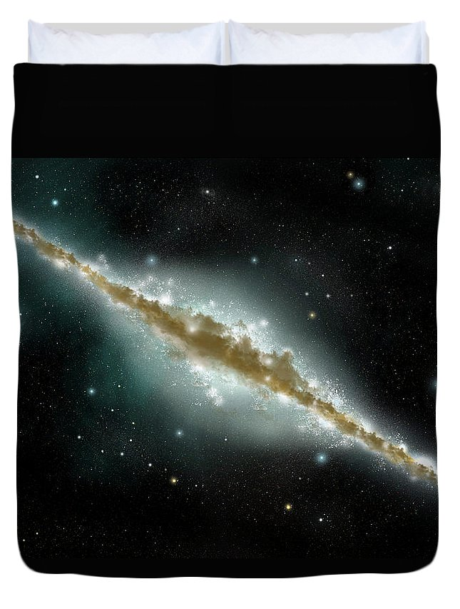 Dust Duvet Cover featuring the digital art An Artists Depiction Of A Large Spiral by Marc Ward/stocktrek Images