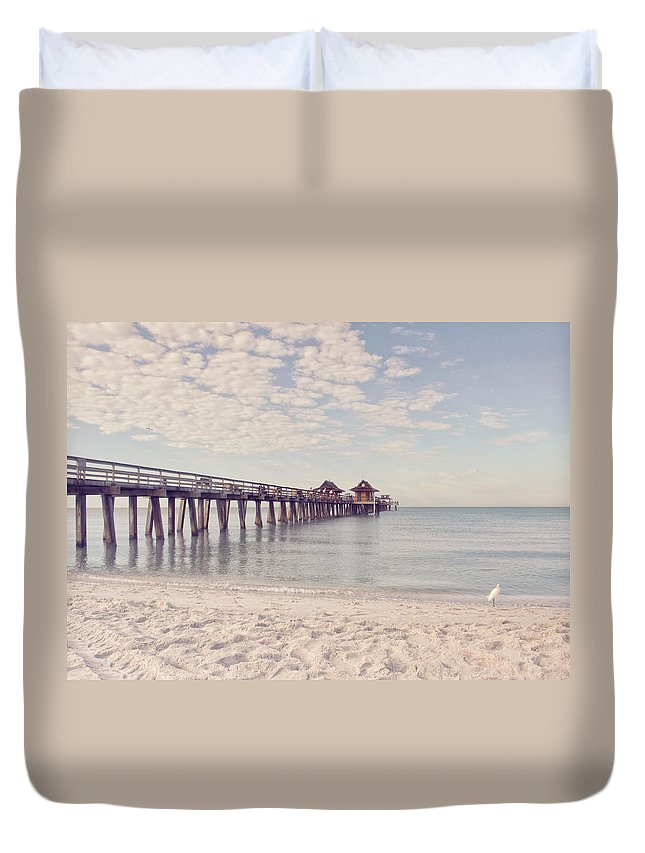 Pier Duvet Cover featuring the photograph An Early Morning - Naples Pier by Kim Hojnacki