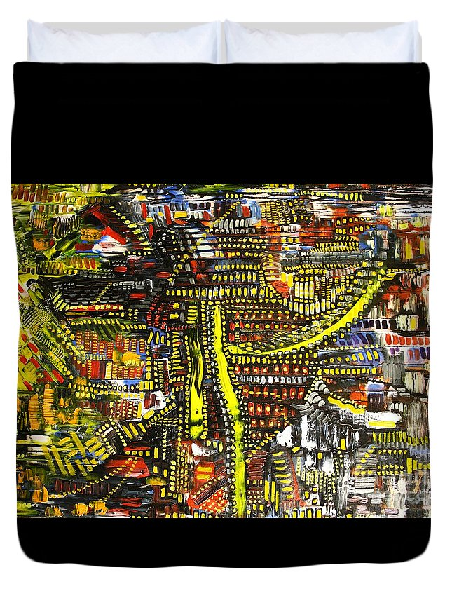 Michael Kulick Duvet Cover featuring the painting An Exercise In Yellow by Michael Kulick