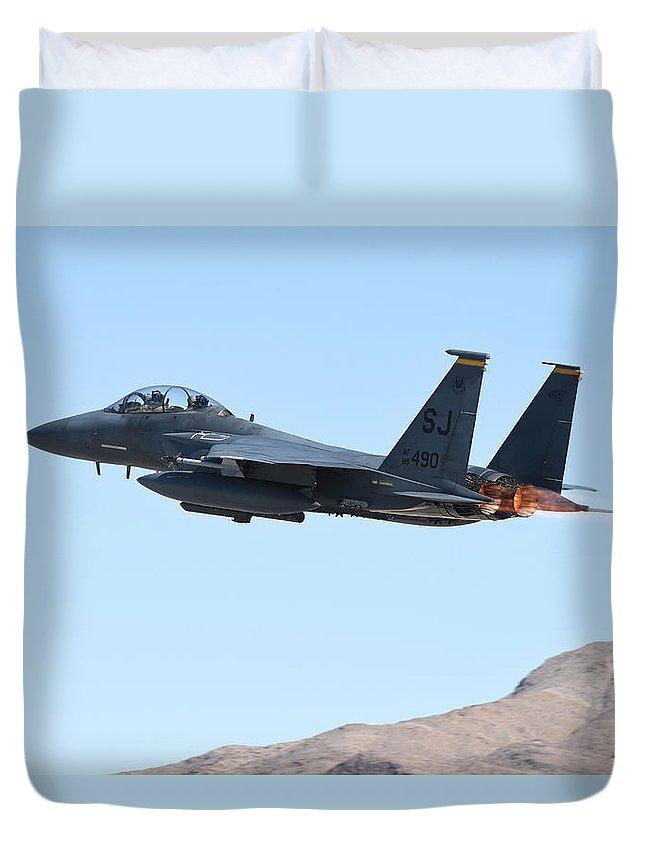 Nevada Duvet Cover featuring the photograph An F-15e Strike Eagle Taking by Riccardo Niccoli