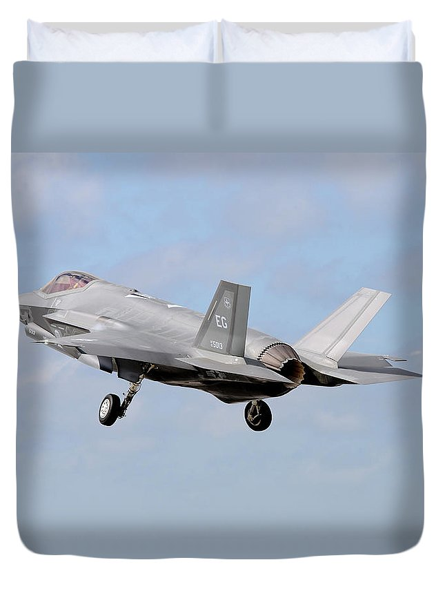 Florida Duvet Cover featuring the photograph An F-35a Taking Off From Eglin Air by Riccardo Niccoli