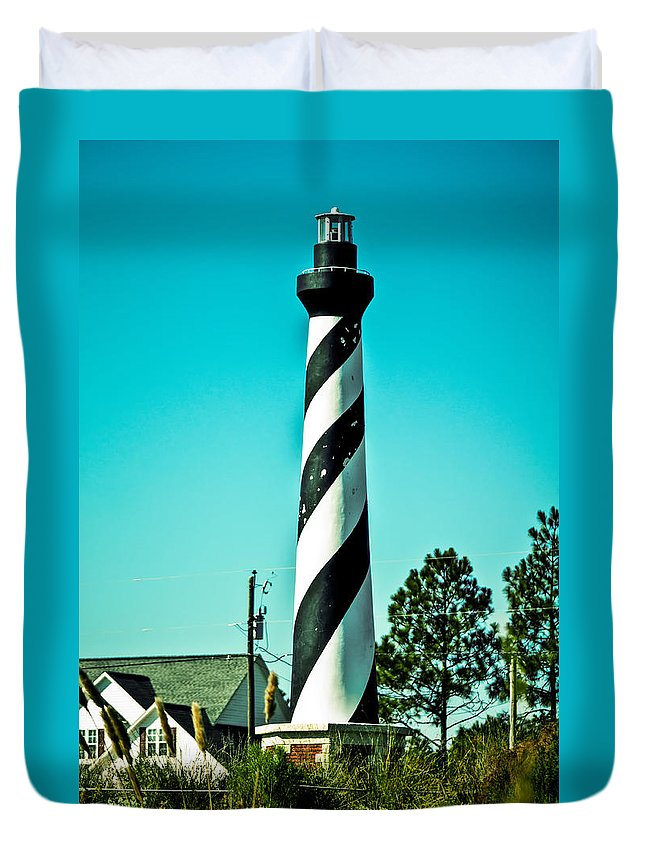 Stripes Duvet Cover featuring the photograph An Image Of Lighthouse In Small Town by Alex Grichenko