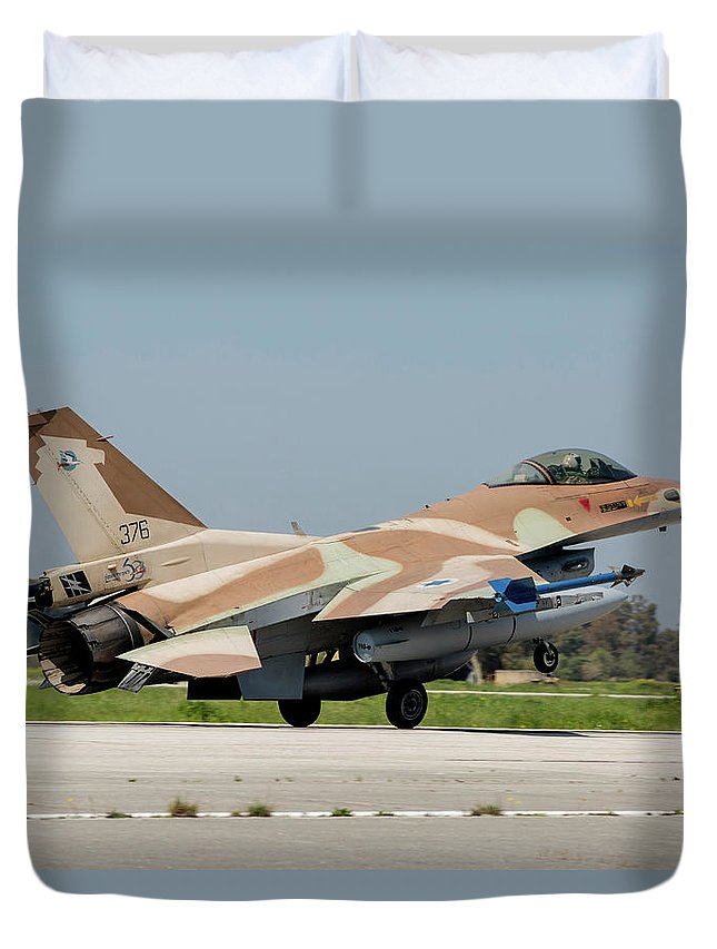 Greece Duvet Cover featuring the photograph An Israeli Air Force F-16c by Timm Ziegenthaler
