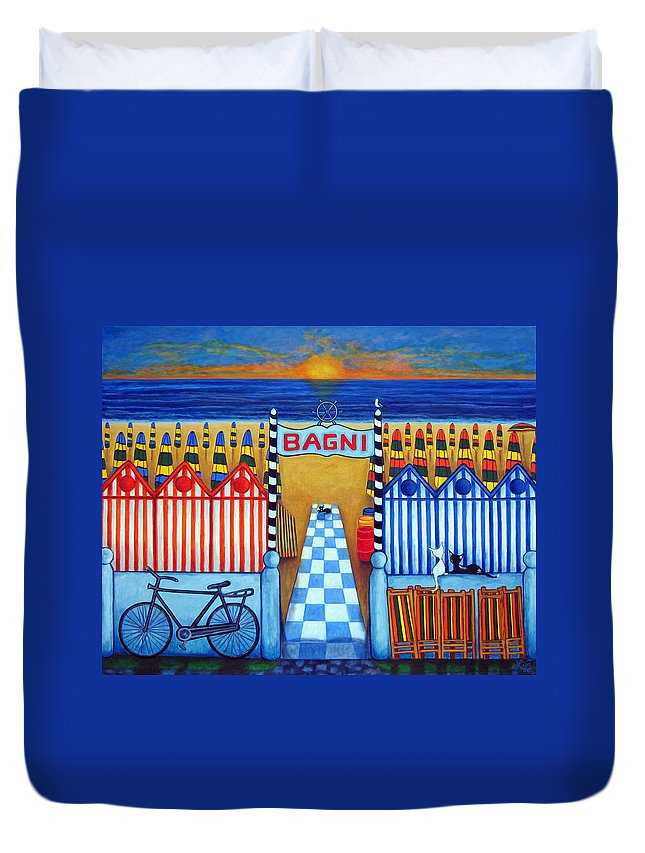 Italy Duvet Cover featuring the painting An Italian Summer's End by Lisa Lorenz