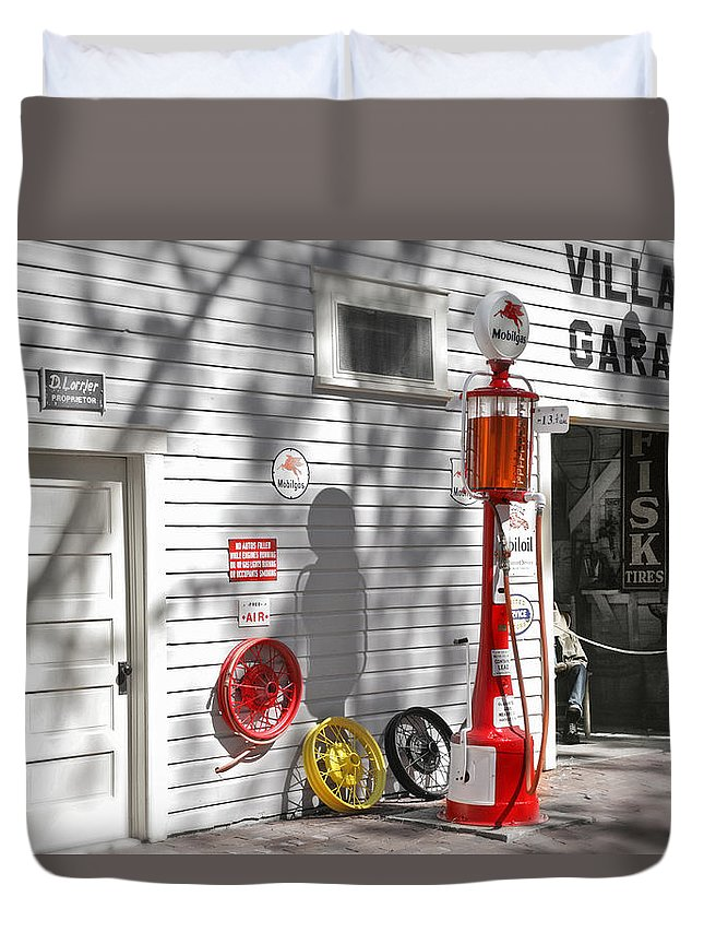 Garage Duvet Cover featuring the photograph An Old Village Gas Station by Mal Bray
