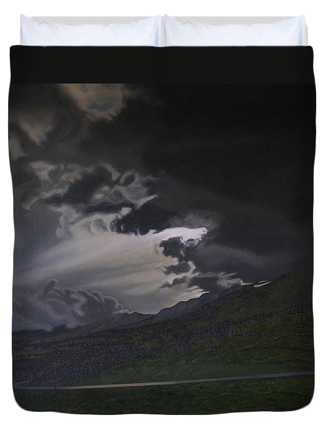 Landscape Duvet Cover featuring the painting An Opening by Thu Nguyen