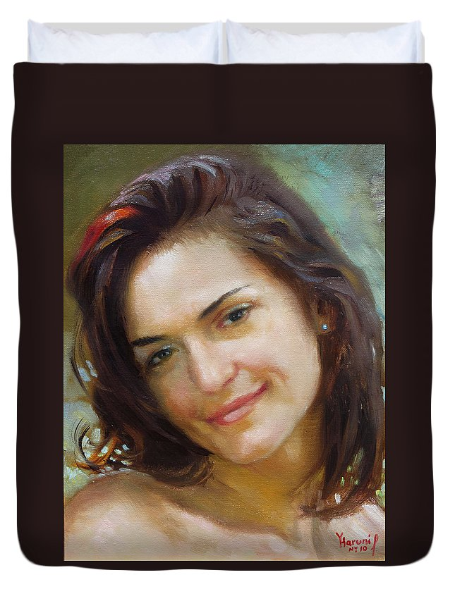 Girl Portrait Duvet Cover featuring the painting Ana 2010 by Ylli Haruni