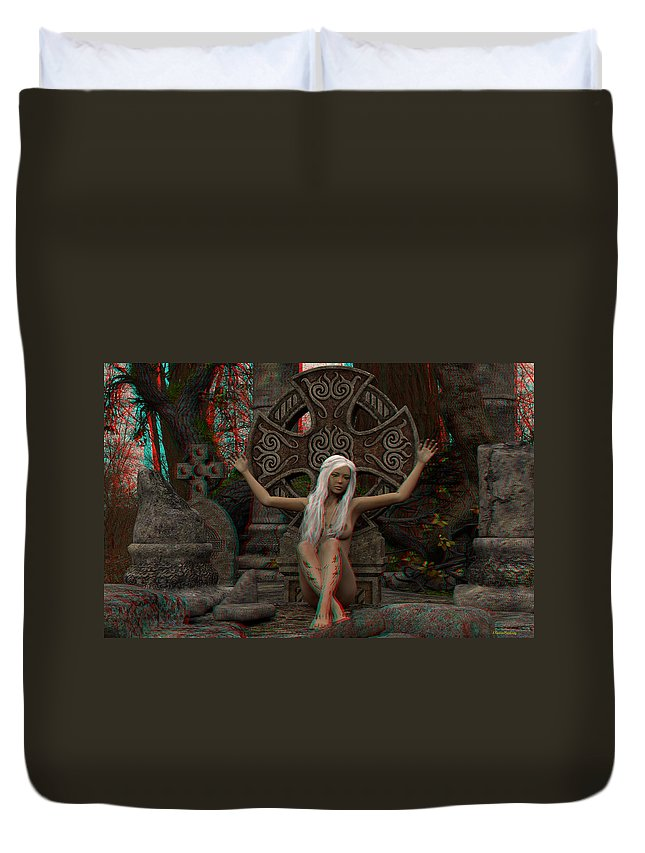 Anaglyph Duvet Cover featuring the digital art Anaglyph Elfa by Ramon Martinez