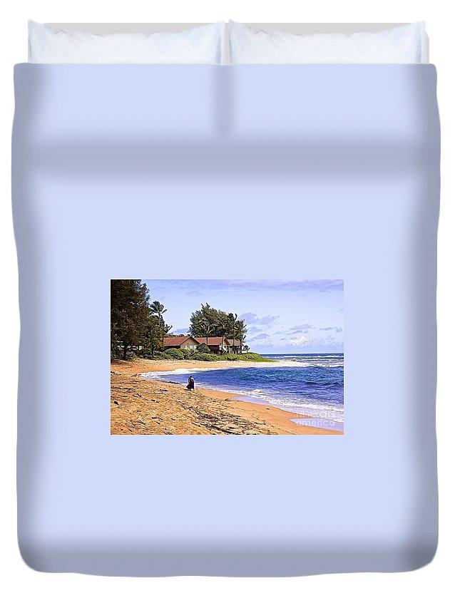 Beach Duvet Cover featuring the digital art Anahola Beach Kauai by Barbara Zahno
