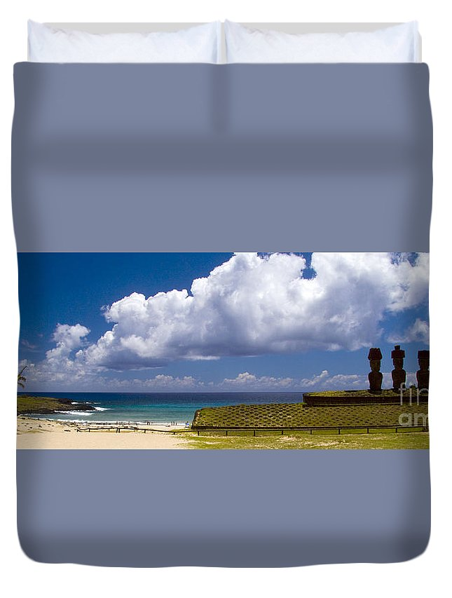 Easter Island Duvet Cover featuring the photograph Anakena Beach With Ahu Nau Nau Moai Statues On Easter Island by David Smith