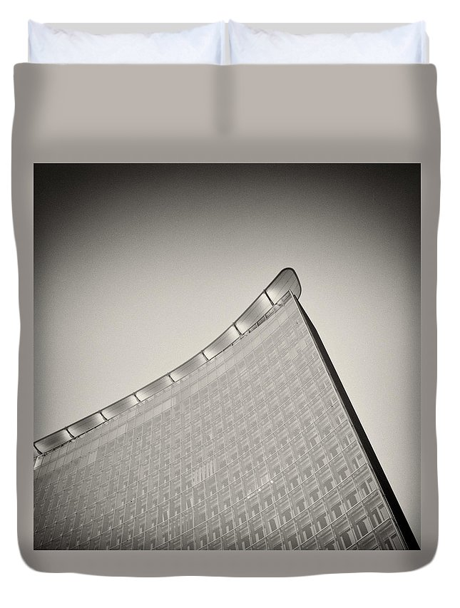 Analog Photography Duvet Cover featuring the photograph Analog Photography - Berlin Architecture by Alexander Voss