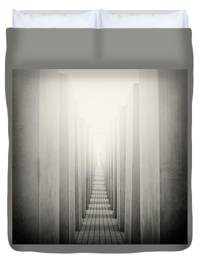 Analog Photography Duvet Cover featuring the photograph Analog Photography - Berlin Holocaust Memorial by Alexander Voss