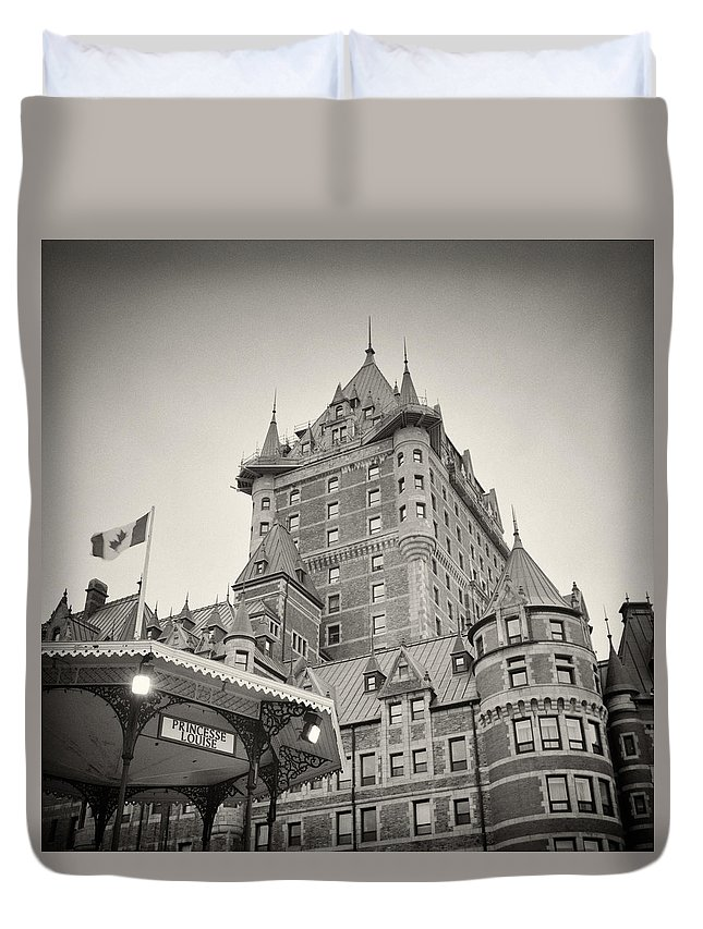 Analog Photography Duvet Cover featuring the photograph Analog Photography - Chateau Frontenac Quebec by Alexander Voss