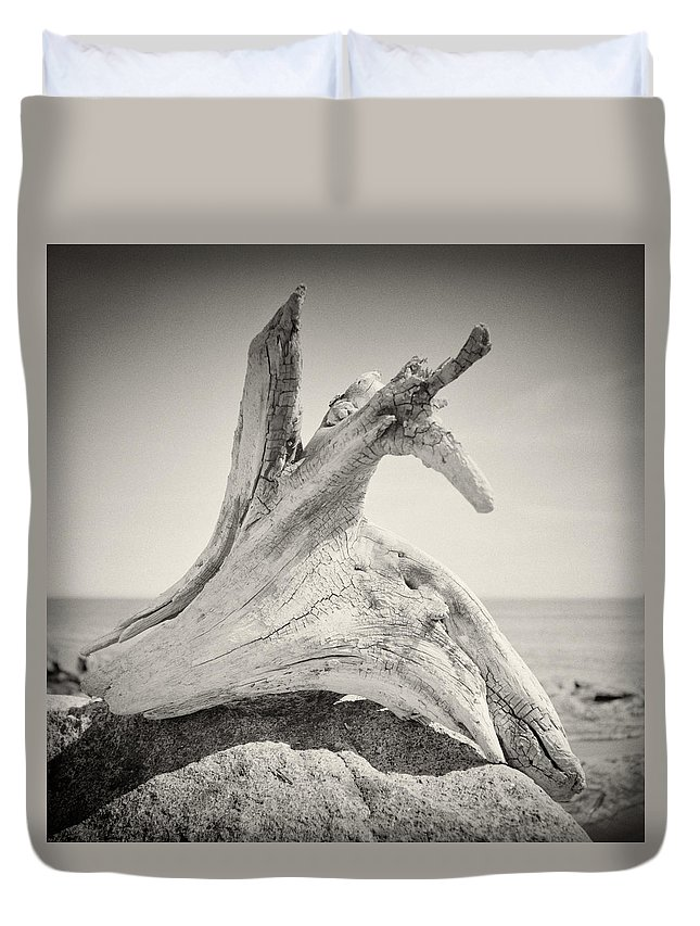 Analog Photography Duvet Cover featuring the photograph Analog Photography - Driftwood by Alexander Voss
