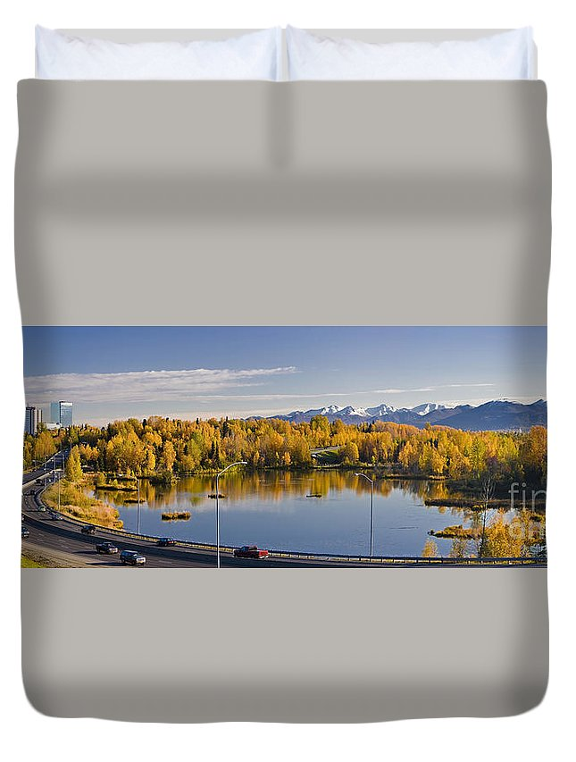 Anchorage Duvet Cover featuring the photograph Anchorage And Westchester Pano by Kevin G Smith
