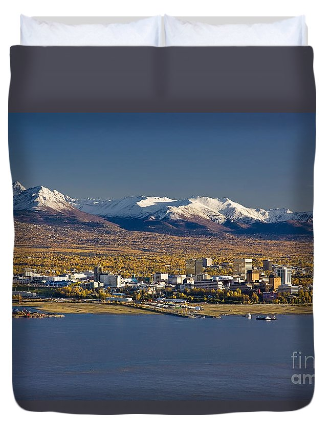050710 Duvet Cover featuring the photograph Anchorage Skyline And The Chugach by Kevin G Smith