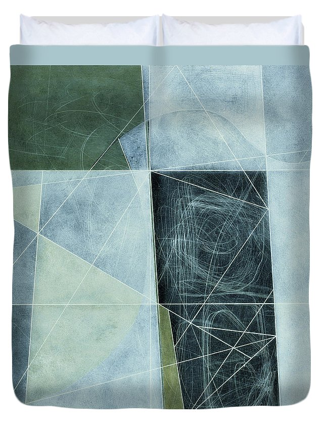 Abstract Duvet Cover featuring the photograph Ancient Landscape, 1982 Oil On Hardboard by George Dannatt