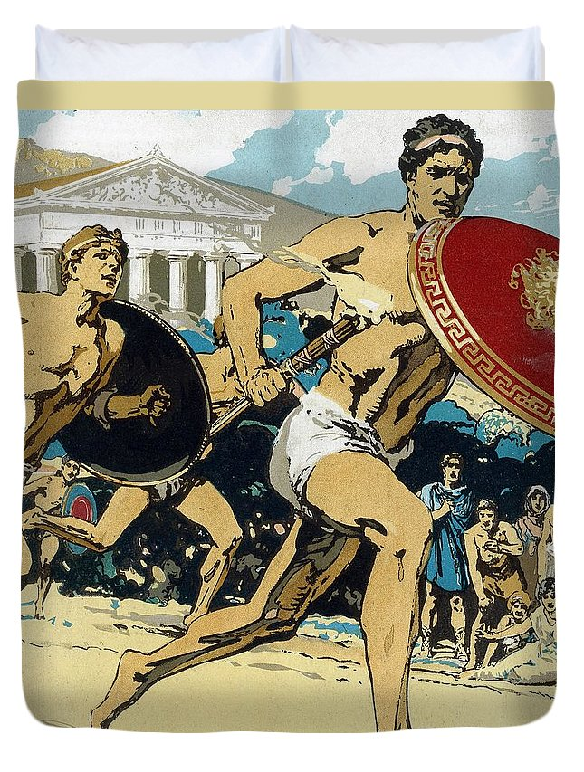 Ancient Duvet Cover featuring the painting Ancient Olympic Games The relay race by Unknown