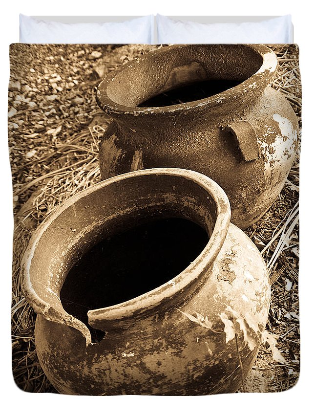 Ancient Duvet Cover featuring the photograph Ancient Pottery In Sepia by Douglas Barnett
