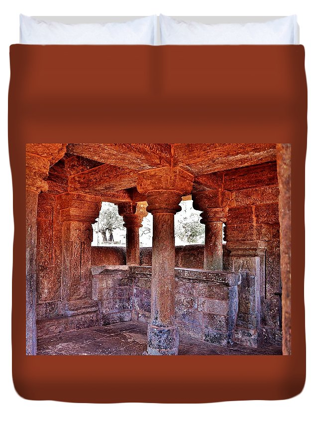 Temple Duvet Cover featuring the photograph Ancient Stone Temple At Amarkantak India by Kim Bemis