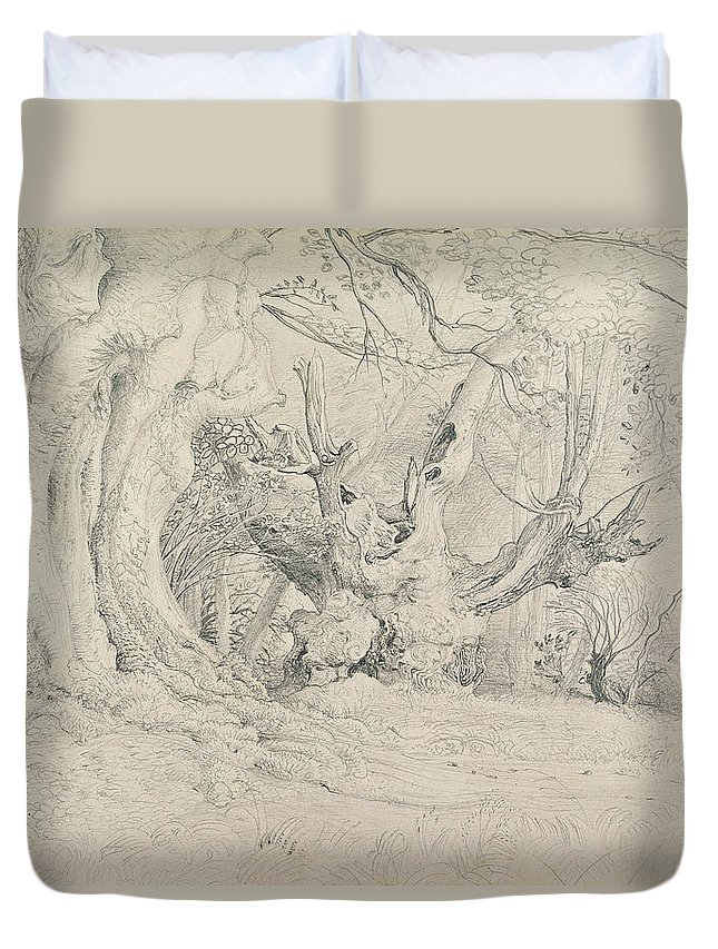 Tree Duvet Cover featuring the painting Ancient Trees Lullingstone Park by Samuel Palmer
