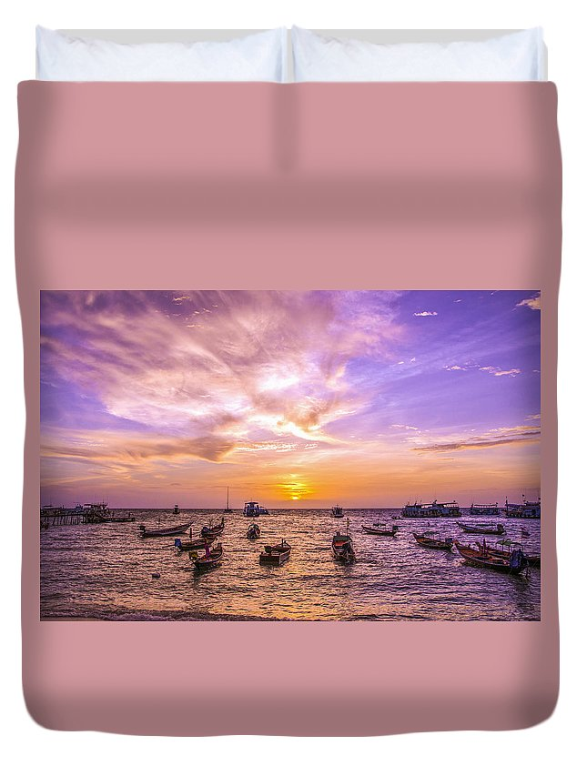 Sunset Duvet Cover featuring the photograph And Every Sunset Will Bring You That Much Nearer... by Valerie Rosen