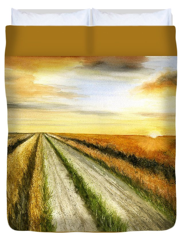 Sunrise Duvet Cover featuring the painting And God Said... by Mary Tuomi