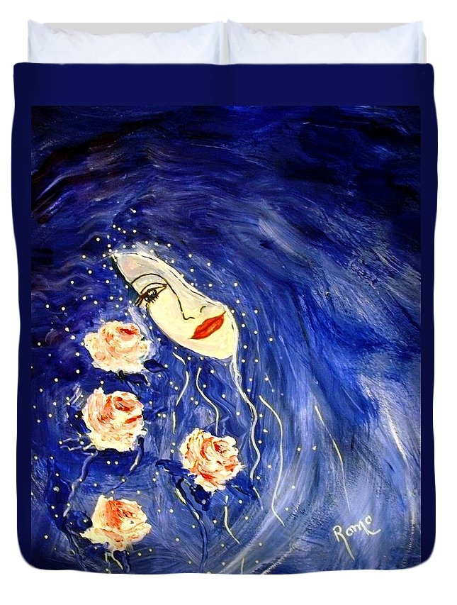 Love Duvet Cover featuring the painting And Her Love Grows... by Robin Monroe
