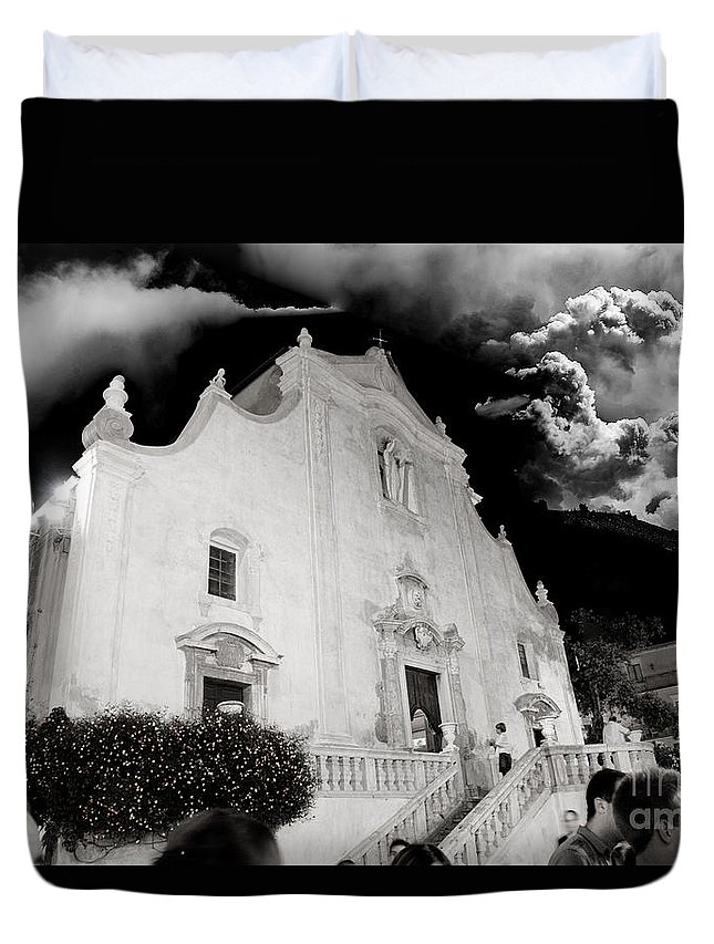 Church Duvet Cover featuring the photograph And The People Came by Madeline Ellis