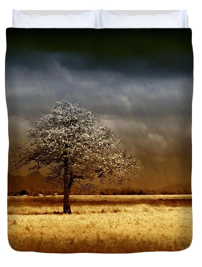 Landscapes Duvet Cover featuring the photograph And The Rains Came by Holly Kempe