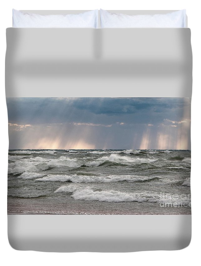 Seascape Duvet Cover featuring the photograph And There Was Light by Ann Horn
