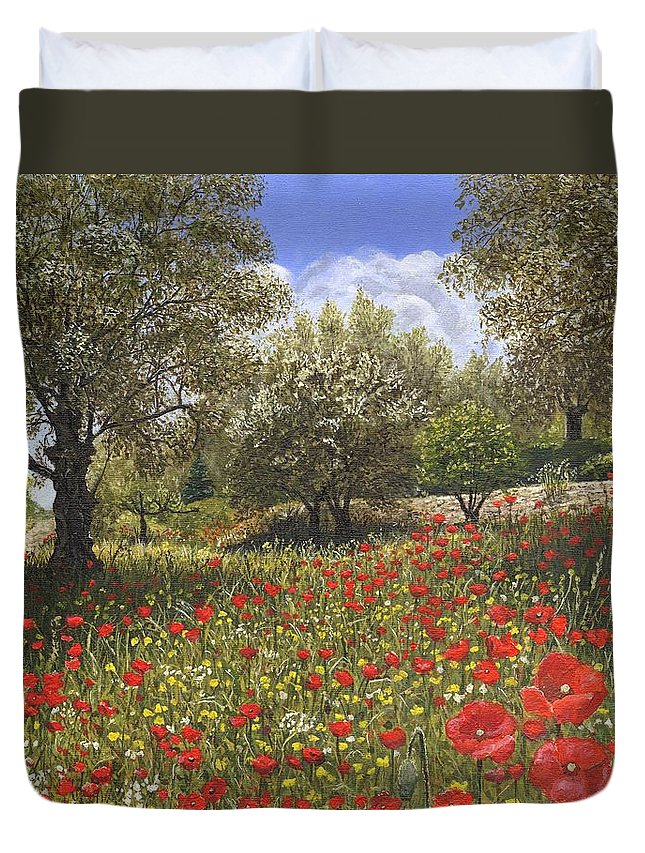 Landscape Duvet Cover featuring the painting Andalucian Poppies by Richard Harpum