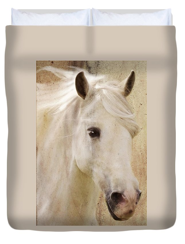 White Stallion Duvet Cover featuring the photograph Andalusian Dreamer by Melinda Hughes-Berland